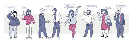 Multilingual people. Cartoon characters with speech bubbles talking different languages, international people communicating. Vector set illustrations friends with difference language