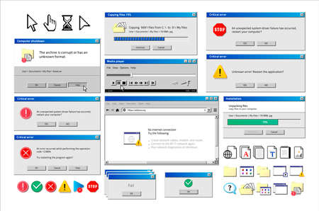 Old computer window. Popup warning, error and installation windows, media player and file manager classic retro design. Vector illustration vintage tab 90s software UI 일러스트