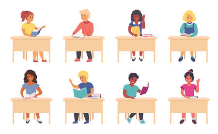 Children reading in school. Cartoon cute school kids and students sitting at the desk and studying. Vector illustration school boys and girls learning with books, study at the table Stock Illustratie