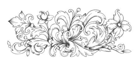 Baroque ornament. Border engraved filigree elements with leaves, vintage Victorian scroll decorative arabesque. Vector black and white image frame heraldic swirl for decor album pages