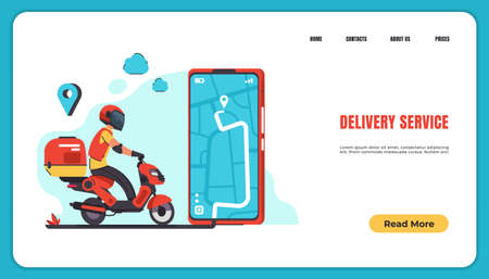 Delivery landing page. Food and goods online order and delivery with courier to home and office. Vector isometric illustration smartphone and web application delivery food