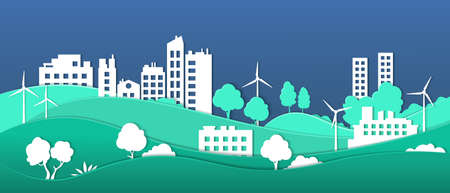 Paper cut Eco city. Smart city ecosystem sustainable by green energy, environmental protection and recycling vector concept. Nature renewable energy with people life 일러스트