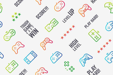 Gamepad pattern. Seamless texture with console videogame controllers and game slogans. Vector design illustration video gaming and modern entertainment pattern