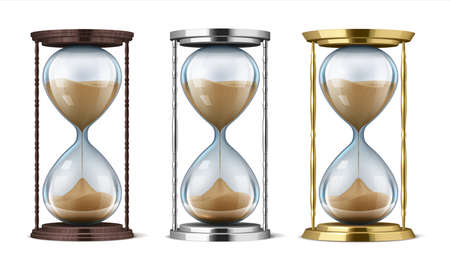 Hourglass. Wooden, golden and metal realistic sand clock isolated on background, time management concept and interior decorative vector element. Antiques illustration hour moment processing
