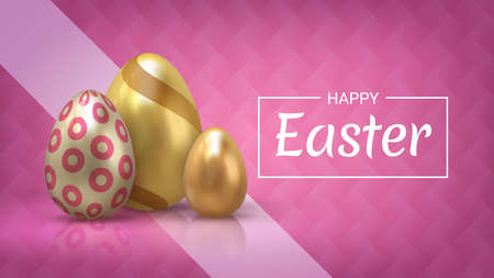 Realistic Easter egg banner. Greeting banner and invitation card with 3D golden eggs decorative elements. Vector holiday celebration postcard with pink background