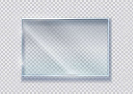 Glass crystal banner. Vector realistic clear rectangle clear window. Transparence isolated materials plastic or glass on transparent background