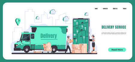 Online delivery. Landing page of food and goods order and delivery service to home and office. Vector illustration tracking of shopping smartphone application Stock Illustratie