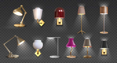 Realistic lamp. Home floor and desk 3D light furniture, closeup render of torchere and light furniture for interior design. Vector isolated set metal decoration luxury lights for home or office