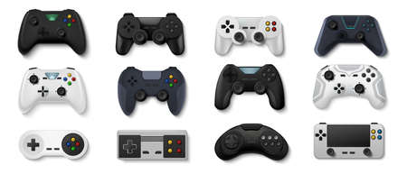 Realistic gamepads. Play console and PC games and stay at home concept, 3D video game controllers. Vector illustration icon set of gaming devices for computer console