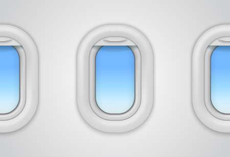 Airplane windows. Realistic vector aircraft illuminator. 3D porthole mockup for flights travel concept, look inside