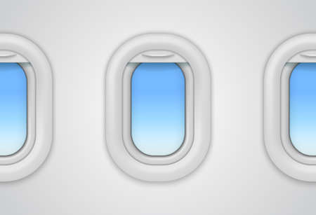 Airplane windows. Realistic vector aircraft illuminator. 3D porthole mockup for flights travel concept, look inside