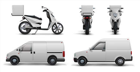 Delivery transport. Realistic commercial scooter, car and van for delivering food and packages to home and offices. Vector illustration transport delivery service set on white background Stock Illustratie