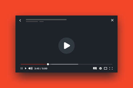 Online player. Live stream video mockup, media player layout with UI elements, timecode and buttons. Vector multimedia streaming concept, web screen frame template