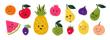 Doodle fruits. Cartoon funny characters of berries and citrus with happy faces, tropical food with cute emotions. Vector set doodles character cute summer fruit Stockfoto - 151756929
