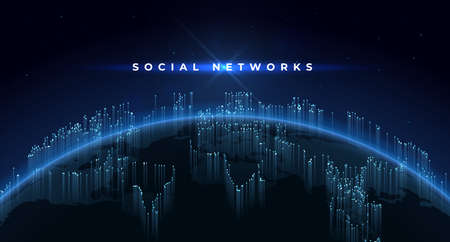 Earth background. Technology concept with planet and global social network, internet geometric grid. Vector illustration futuristic space banner matrix image space globe Stockfoto - 151756931