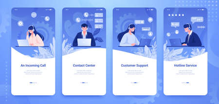 Customer support banner. Social media stories with info center and client support concepts. Vector vertical flat illustration banners with flat cartoon call center