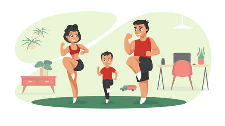 Family workout. Cartoon characters doing sport exercises at home, indoor activities with children concept. Vector illustrations mom and dad exercising fitness in gym