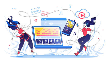 Phone streaming. Happy girl listening to music on her smartphone, online broadcasting and streaming services concept. Vector illustration concept digital mobile online music or radio Stockfoto - 151697885
