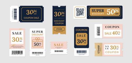 Sale vouchers. Coupon mockup design for sale and gift event posts in social media, discount ticket collection. Vector image banners with promo code offer isolated set