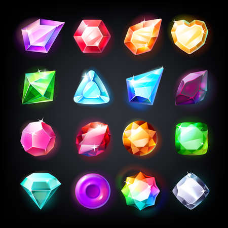 Gems. Cartoon jewelry stones for game achievement and currency, icon set of colored shiny crystals. Vector illustration beautiful game jewels collection