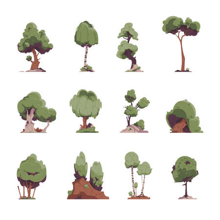Cartoon trees. Flat fairytale detailed graphic elements, oak willow birch trees for game environment. Vector illustration garden plants set for yard types
