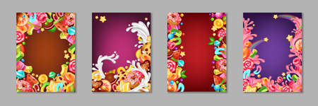 Cartoon candy posters. Background templates with sweets and desserts for kids, chocolate and caramel cakes lollipops and cookies. Vector template colourful banner set