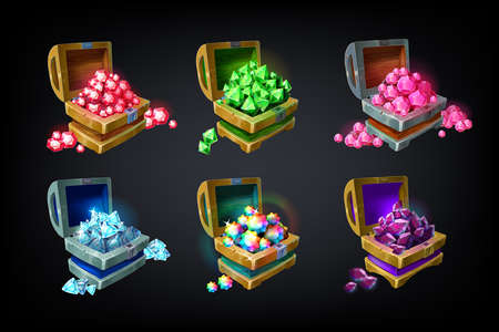 Game chest. Cartoon colored precious jewelry stones, achievement game design element, batch of glowing gems. Vector illustration shining crystals set for playing