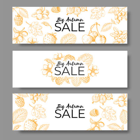 Autumn sale banner set. Voucher, offer or coupon with hand drawn leaves and berry. Vector image horizontal leaflets with natural backgrounds Stock Illustratie