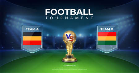 Football versus background. Soccer teams comparison banner with night football stadium, sport match and championship tournament. Vector soccer cup on stadium background