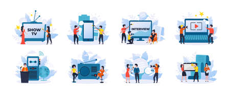 Journalism. Mass media, radio and TV news scenes with cartoon characters, internet online source and newspaper. Vector set illustration of TV reporters and journalists with camera