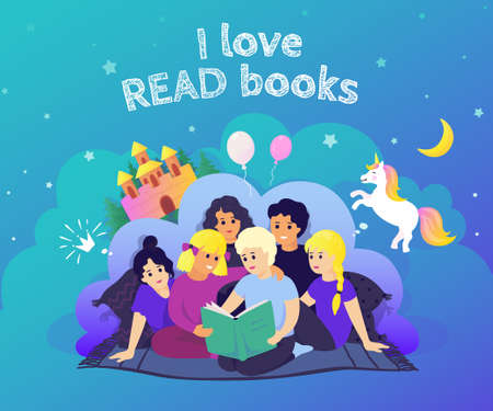 Children reading concept. Hand drawn image kids characters reading book and imagine adventures. Vector background with funny children learning with books and creative imagination Stock Illustratie