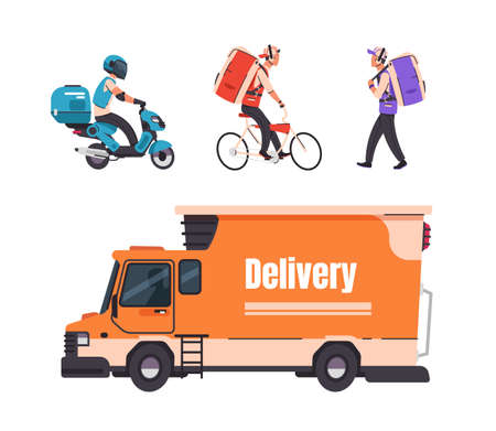 Delivery service. Cartoon walking courier, on bicycle, scooter and car, online food and goods delivery service to home and office. Vector set illustrations transportation services on white background