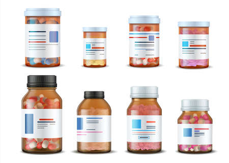 Pill bottles. Realistic medical glass containers with plastic caps pills and labels, 3D drugs and medical supplements. Vector illustration medication drugs mockup set Stock Illustratie