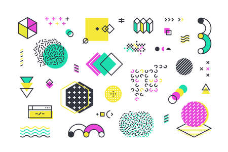 Memphis shapes. Abstract geometric line elements with retro graphic shapes for web design advertisement and social network banners. Vector set vintage wave ornament for 1980 illustrations Stock Illustratie