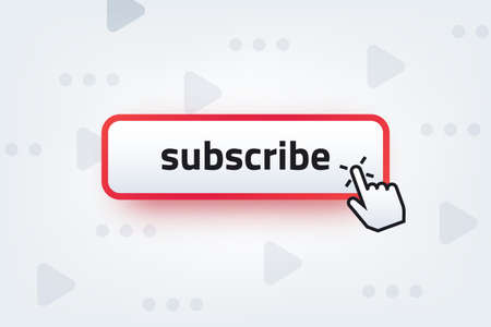 Subscribe button. Clicking hand cursor with subscription button, video channel interaction symbol. Vector subscription ui element on gray backgrounds with play symbo Stock Illustratie
