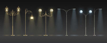 City night lights. Realistic modern and vintage streetlights with warm and white glowing, row of pole highway night lights. Vector isolated set lamppost with yellow lighting on transparent background Stock Illustratie