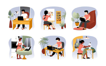 Freelancer at home. Work from home on quarantine concept, cartoon men and women sitting with laptop and working. Vector set illustrations what easy comfortable be home workin