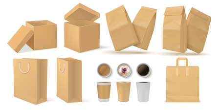 Realistic fast food pack. 3D paper snack and drinks packaging mock up set for branding design. Vector illustration food and coffee containers set isolated on white background