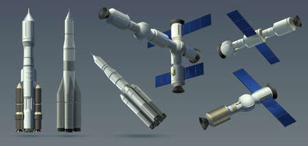 Space rockets. Realistic 3D spaceships and space stations collection, automatic satellite and interplanetary station mockup. Vector illustration heavy rockets and space modules set isolated on gray