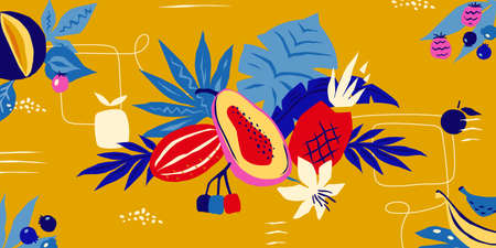 Tropical background. Abstract doodle exotic plants leaves and fruits for greeting card, colorful modern pop art poster. Vector fashion creative trend wallpaper with summer textures Stock Illustratie