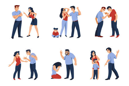 Couples conflict. Cartoon angry men and women characters during conflict, fighting and shouting. Vector set illustrations of hard conversation scenes in family or business