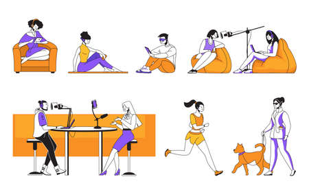 Podcast. Cartoon characters streaming interview and listening podcasts while working cooking resting and doing exercises. Vector colourful design illustrations isolated set
