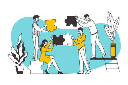 Puzzle concept. Teamwork and business partnership metaphor with cartoon workers holding puzzle elements. Vector image creative building cooperation concepts