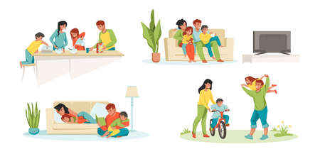 Family at home. Parents and children in house eating playing watching TV, father mother and kids together. Vector illustrations happy cartoon family characters in house activities