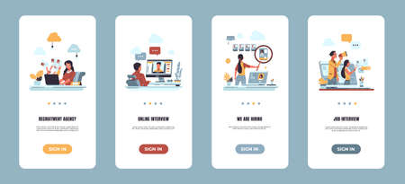 Recruitment onboarding app. Hiring employee and human resources concept. Vector illustrations mobile screen app for online job interview and vacancies 向量圖像