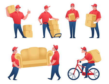 Delivery service. Cartoon mail man and food delivery worker carrying cardboard boxes. Vector illustration scenes of happy courier with parcel Stock Illustratie