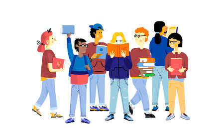 Student characters. Young happy boys and girls studying and carrying books, education concept. Vector cartoon trendy flat set of school children studying together