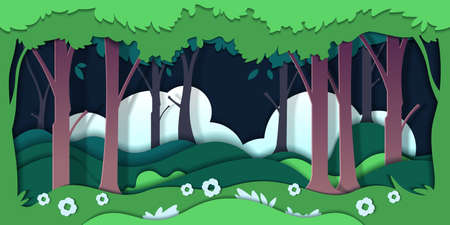Paper cut trees. Ecology concept with nature environment and cardboard landscape. Vector illustration green origami background forest and meadow