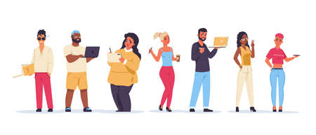 Designers. Cartoon creative team of young artists and designers, diverse male and female millennials. Vector isolated illustration standing happy friends in different clothes set Stock Illustratie