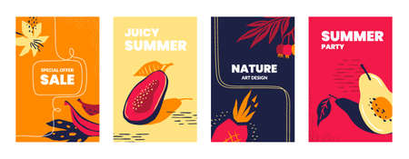 Posters with exotic fruits. Doodle tropical leaves and plants with berries, collection of cartoon banners. Vector set summer food illustrations for disco party poster